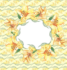 Seamless pattern with flowers lily watercolor