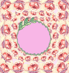 Seamless pattern with flowers rose watercolor