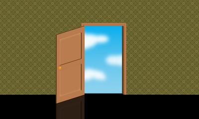 Stanza con porta aperta al cielo