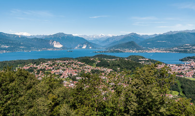 Panoramic view of Lake Maggiore and mountain backdrop