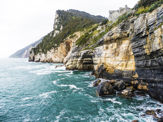 Beautiful stormy sea and cliffs landscape