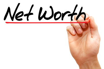 Hand writing Net Worth with marker, business concept