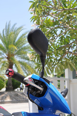 mirror and steering wheel motorcycle.