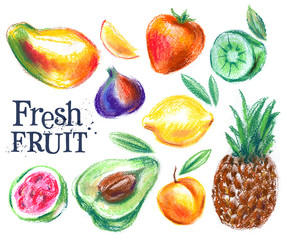fresh fruits on white background. gardening, horticulture