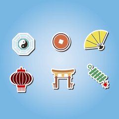 set of color with chinese New year icons for your design