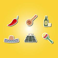set of color icons with symbols of Mexico for your design