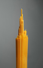 Bunch of spaghetti pasta. Grey background