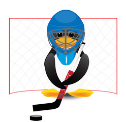 penguin with a hockey stick and puck mask