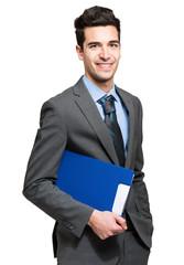 Smiling businessman on white background