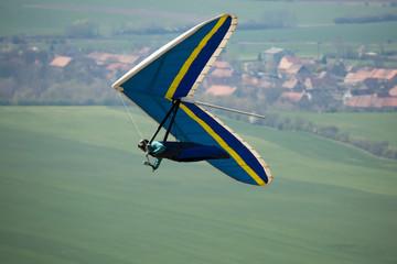 hang-glider taking of in the flight taken in Czech republic