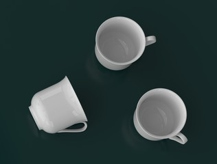 Top view of the three white porcelain mugs