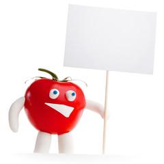 Tomato mascot holding blank card