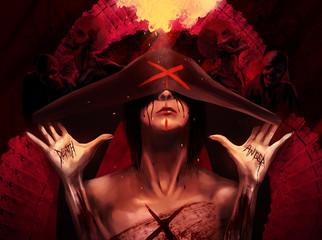 Fantasy horror woman in black hood