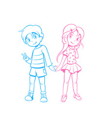 Cute boy and girl in love in anime style
