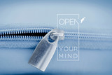 Fototapety Open mind quote concept macro zipper background