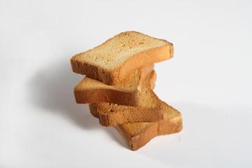four slices toast on white