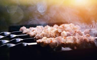 Grilling a delicious shashlik