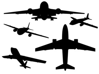 Silhouettes of aircraft.