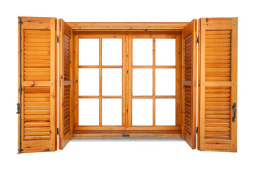 Wooden window with shutters isolated on white exterior side