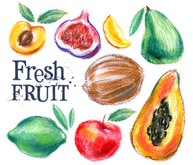 fresh fruit on a white background. cooking