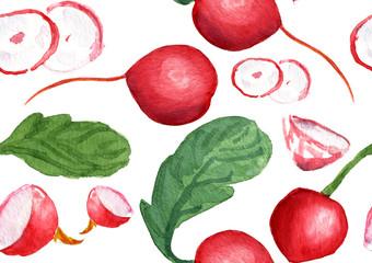 A watercolor radish seamless pattern on  white background