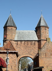 towers of the Kamperbinnenpoort in Amersfoort. Netherlands