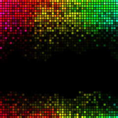 Abstract lights disco background. Multicolor square pixel mosaic
