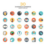 Set of modern flat design Shopping and commerce icons - 81886360