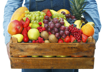 Man holding box with assorted fruits