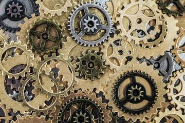 Gears cog wheels on metal