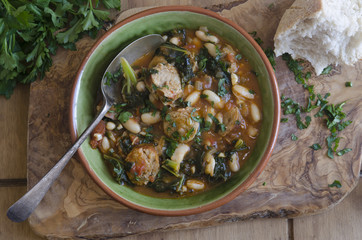 Sausage, bean and kale stew