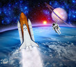 Space Shuttle Astronaut Planet