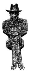 Gitarrist,Bluesmusiker, Cartoon,Zeichnung
