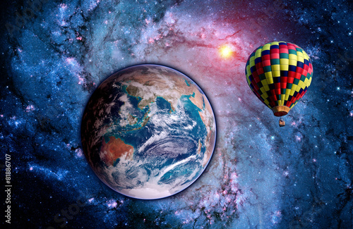 Foto op Aluminium Ballon Fantasy Landscape Balloon Earth