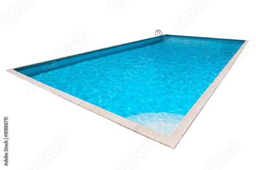 Fotobehang Stadion Rectangular Swimming pool with blue water isolated