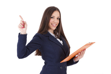 business woman pointing finger isolated
