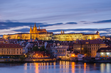 Castle of Prague (Czech Republic) and Vltava River in the sunset