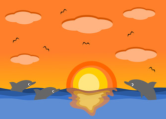 Sunset sea and the beautiful dolphins cartoon illustration