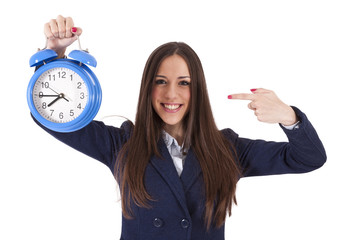 business woman with clock