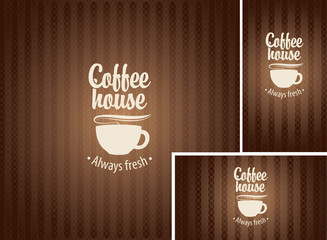 banner and business cards with a cup of coffee