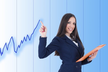 business woman with positive chart