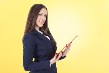 business woman on yellow background