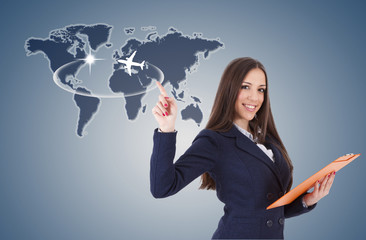 business woman with travel map