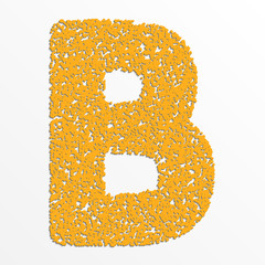 Vector multi color alphabet with grain texture, letter B