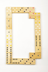 Alphabet letter D arranged from wood dominoes tiles isolated