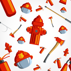 Color vector seamless pattern firefighter equipment.