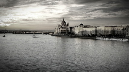 Evening view on the Hungarian Parliament in Budapest