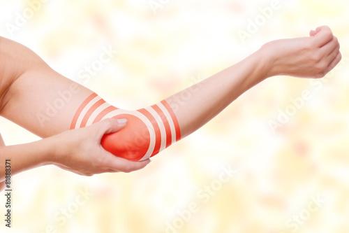 Leinwanddruck Bild Ellbogenschmerz - Zielscheibe Markierung
