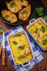 Potato gratin with marinated chicken breast