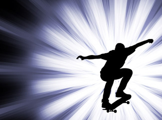 skateboarder on the abstract background - vector
